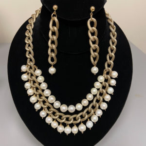 "2 Rows Pearls Necklace with 3.5"" Earrings"